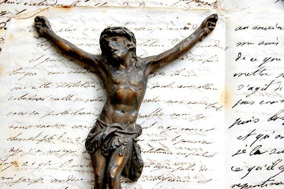 TREASURY  ITEM - Small antique French figure of Jesus Christ, gilt finish