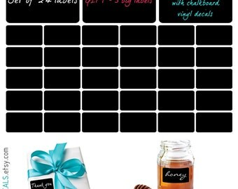 Labels Vinyl Decals Set Of 30 & Free 3 Big Labels To Organize Your Kitchen, Home, Office Or Wedding, Chalkboard Lables -  ID555