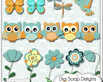 2.00 SALE! Baby Owls, Turquoise Orange for Baby Birthday Digital Clip Art for Scrapbooking, Card Making, Invites, Crafts