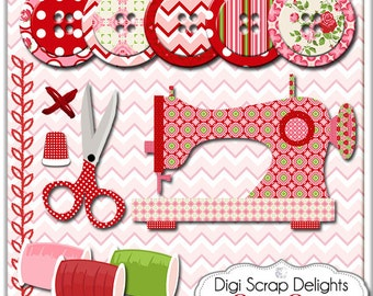 2 Dollar Sale! Sew Sew Sewing Clip Art, Instant Download Vintage Rose Digital (Cath Kidson, Style) Buttons, Scissors, Thimble