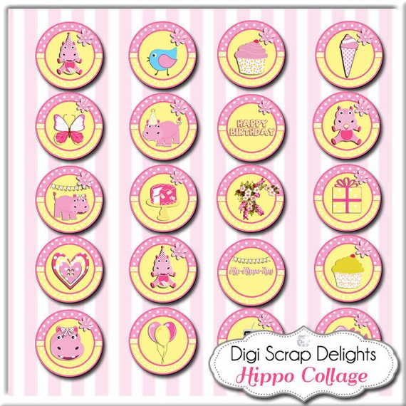 Hippo Birthday Pink Yellow Alpha Collage - One Inch Circles- Pendants, Magnets, Hair Bows, Jewelry, Bottle Caps,  Instant Download