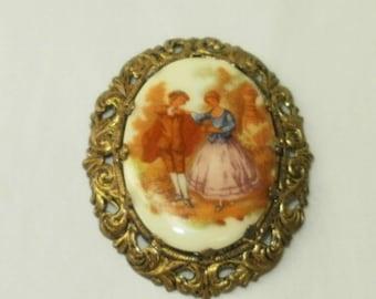 Pin or Brooch Artist Signed Fragonard Western Germany Painted Porcelain Victorian Scene