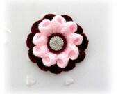 Crochet Brooch - Crochet Corsage Brooch Burgundy Pink Flower with Rhinestone Button