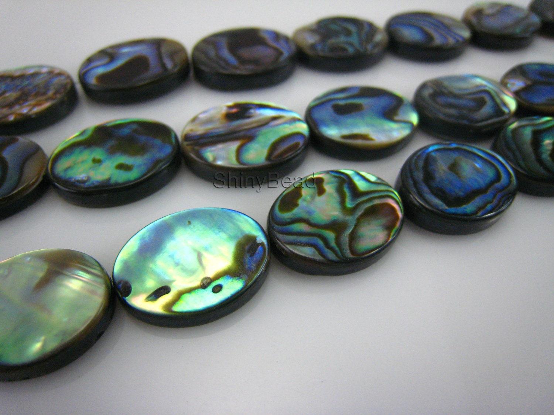 abalone shell flat oval 16x12mm 15 inch strand shinybead