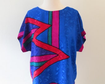 Vintage Bright Graphic Print Blouse