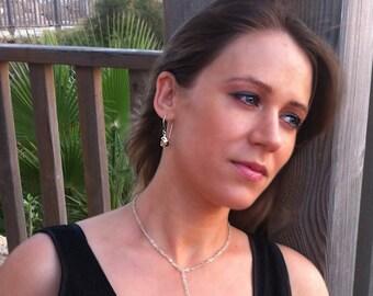 Champagne Crystal Earrings - Sterling Silver Wire Wrapped Swarovski Crystal Dangle Earrings / Teardrop Earrings, Tear Drop Dangle Earrings