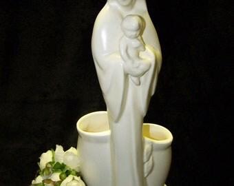 Haeger Madonna and Child Planter Vase White Pottery Vase