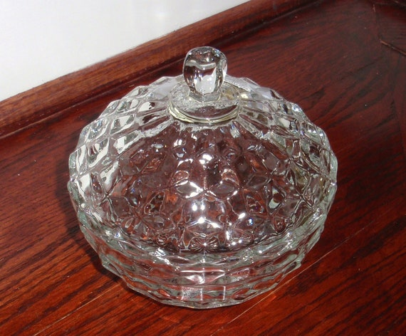 Round COLONY Glass WHITEHALL CANDY 1964 Covered Heavy Clear Crystal Lidded Bowl Dish Indiana Stacked Cube Pattern Excellent Condition