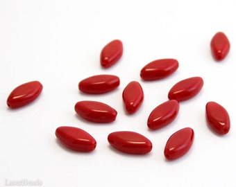 Large Red Beads 16mm 14pc Flat Oval Beads Opaque red beads Big red beads Red glass beads