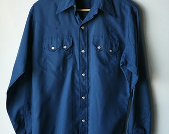 indigo BLUE NAVY blue western PEARL button up long sleeve cowboy rustler faded blue shirt men's vintage