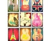 ANY 9 music or guitar art prints, music decor, rock n roll art, boyfriend gift, guy gift, men, dudes, hipsters
