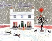 John Keats - Christmas Card - Keats House - Naive Art - Romantic Poet - Holiday - Collage - Writers' Houses - Snow Scene - London - Cats