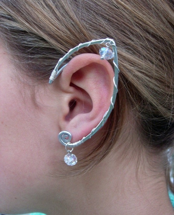 Another Simple and Elegant  Pair of Elf Ear Cuffs ,Aluminum, Silver and Clear Glass, Faerie Ear Wraps, Fairy, Elven, Renaissance