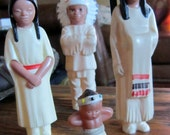 5 Pieces Native American Indian plastic Dolls 1950 & 60s