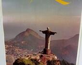 Vintage Poster Brazil Rio de Janeiro Travel Advertisement Christ the Redeemer Statue  Art Looart Press Ready to Frame