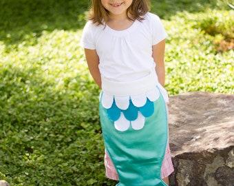 Kids Dress Up Fairy Tale Mermaid Costume Tail Turquoise Teal Aqua and White Pretend Play size MEDIUM