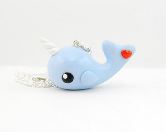 Kawaii Narwhal Heart Charm Necklace Unicorn of the Sea Jewelry