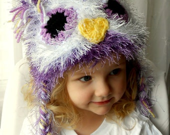 Fuzzy Purple Owl Hat- Girl Owl Hat- Warm Durable Winter Beanie with Earflaps- Purple Lavender, Yellow and White- Girl Photography Prop