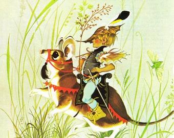 Tom Thumb - Vintage Illustration Storybook Print - Deans A Book of Fairy Tales - Paper Ephemera