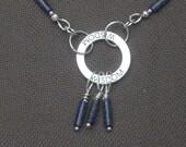 Necklace-Charm Necklace-Lapis Lazuli-Words of Wisdom Jewelry-Wisdom Necklace-Silver Necklace-Silver Jewelry-Lapis Lazuli Jewelry
