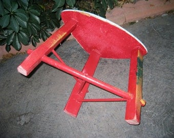 Vintage three legged milking stool shabby chic