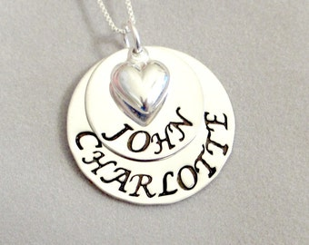 Hand Stamped Mommy Necklace - Personalized Jewelry - Stacked Sterling Silver Discs with Silver Puffy Heart