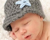 Brimmed Beanie Hat for Baby Boy with Embroidered Star - Charcoal Gray and Light Blue - Newborn - READY TO SHIP