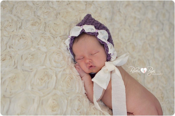 Ribbon and Pearls Baby Bonnet - Crochet Pixie Hat - Purple with Cream Ribbon and Pearl Trim - Newborn