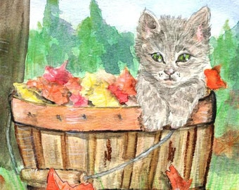 Gray Tabby Kitten in Wicker of Basket of Fall Leaves Watercolor Painting, Cat Art Print, Orange, Yellow Autumn Foliage, Animal Picture