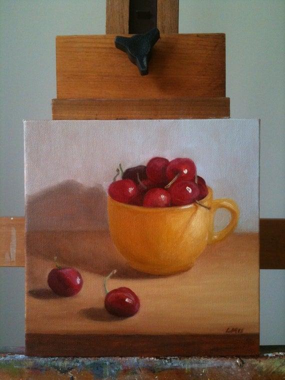 Kitchen Decor Oil Painting, Still Life with Cherries, Original Artwork by Livia Mosanu