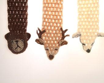 Set of Three Animal Scarfs, Bear Scarf, Fox Scarf, Wolf Scarf, Deer Scarf, Crocheted Animal, Crochet Scarf, Cute Scarf, Children scarf