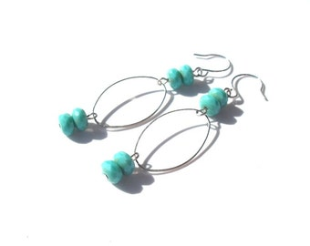 Czech Glass earrings, Gifts under 15, Gifts for her, Handmade Jewelry, Spring Jewelry, Summer Jewelry, Gemstone Jewelry, Turquoise Earrings