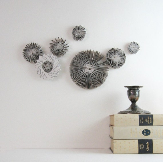 Grey Star Wall Decor : Paper cog wall sculpture appliques star by bookbw