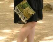CLUTCH PURSE, Green, Beige, Hippie Hand Bag, Ethnic Cotton Fabric, Linen, Crochet Fringe, Flowers, Interior Pocket, Short Strap
