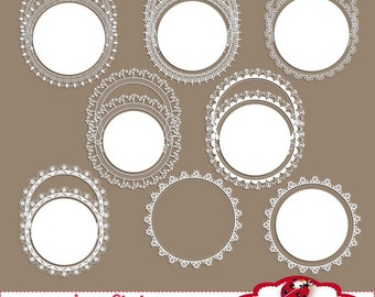 Lace Circles - Digital Clipart / Scrapbook - card design, invitations, paper crafts, web design - INSTANT DOWNLOAD