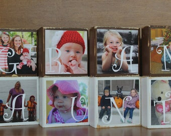 PERSONALIZED Grandmother Gifts for Grandparents Gift for Grandmother Christmas Gift Aunt Gifts Custom Photo Blocks - SET of 6