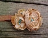 Lucia flower headband in tan and aqua....birthday party...autumn...earth tones...Pocahontas...Disney