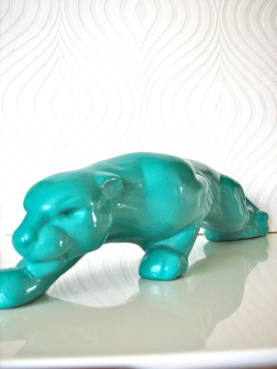 Crouching Panther in teal