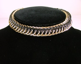 CROWN TRIFARI Black and Gold Snake Chain Choker Necklace