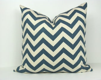 Throw pillow covers 22x22 Chevron Pillows Blue and Cream Pillows Decorative Throw Pillow ZigZag Printed fabric front and back.