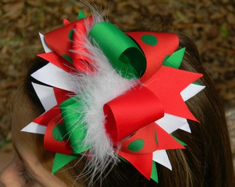 Girls hair bows, Christmas hair bow, Girls, Toddlers, Baby, Christmas headband, Over the top bow, Red, Green, Hair bows for Girls, Hairbow