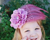 Toddler Headband,  Pink Feather Headband, Flower Fascinator, Pearl, Rhinestones and Lace - Newborn Baby Headband, Adult - Photo Prop
