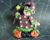 Polymer Clay  Milestone Halloween Ornament Bear Wizard Jack O Lanterns Spider Stars  Pin Brooch Magnet