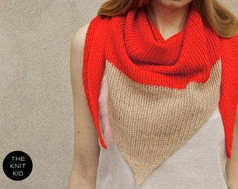triangle scarf the knit kid red orange beige camel color block theknitkid cotton wool mohair, color block, scarf, knit scarf, shawl,