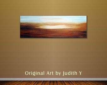 "Art Painting Abstract Blue Brown and White Landscape on 36""x12"" Wall hanging by Judith Yabut"