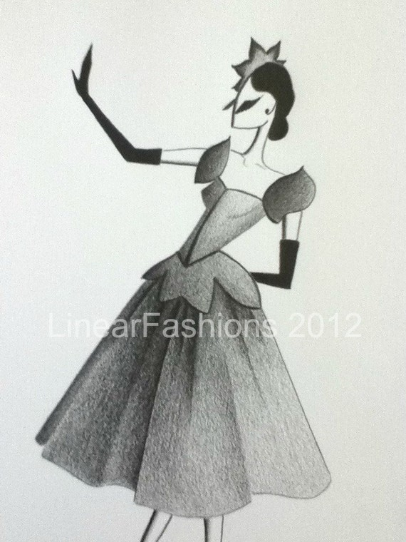 Fashion Illustration Fairy Tale 1950s Party Dress Decor or Gift
