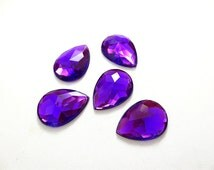 Purple Tear Drop Rhinestone,18x25 mm, Pear Shaped Acrylic Rhinestones, Flat Back No Holes, 5 Pieces, Supply Item for Crafts