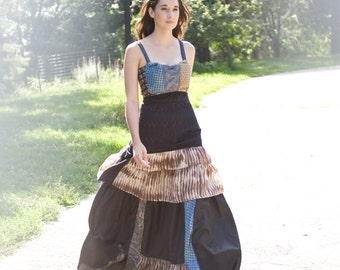 Tie Goddess Gown - reclaimed materials
