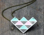 geometric necklace, handmade in porcelain