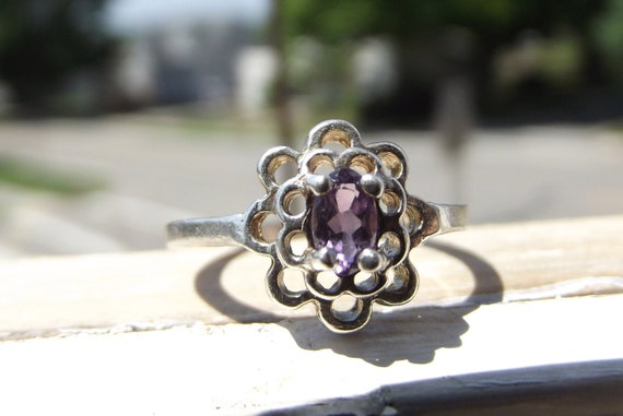 Mother's Day Sale Vintage Silver Lilac Flower Ring Size 5